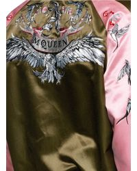 Alexander McQueen - Green Eagle Embroidery Satin Bomber Jacket - Lyst