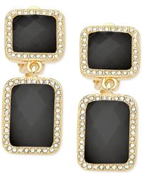 T Tahari | Gold-tone Black Stone Double Drop Earrings | Lyst