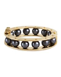 Lele Sadoughi | Black Round Stone Slider Bracelet, Hematite | Lyst