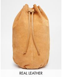ASOS | Brown Suede Drawstring Cross Body Backpack | Lyst