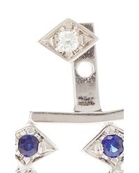 Azlee - Metallic 18k White Gold And Sapphire Triple Burst Single Ear Jacket - Lyst