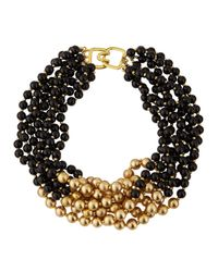 Kenneth Jay Lane - Black & Golden Beaded Multi-Strand Necklace - Lyst