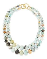 Kenneth Jay Lane | Green 2-strand Graduated Jade Bead Necklace | Lyst