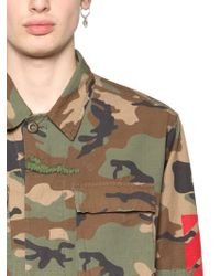 Off-White c/o Virgil Abloh | Green Printed Canvas Field Jacket for Men | Lyst