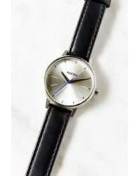 Nixon | Metallic Kensington Leather Silver + Black Watch | Lyst