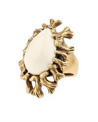 Oscar de la Renta   Metallic Coral-Branch Teardrop Ring   Lyst