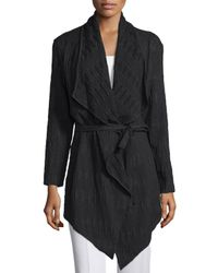 Natori - Black Long-sleeve Belted Cardigan - Lyst