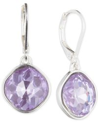 Nine West - Metallic Silver-tone Purple Glass Stone Teardrop Earrings - Lyst