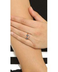 Vita Fede - Blue Ultra Mini Double Band Ring - Rose Gold/black Pearl/clear - Lyst