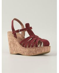 252c28c5e3b3 Lyst - K. Jacques Cork Wedge Sandals in Pink