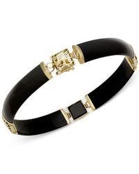 Macy's - Black Onyx Dragon Bracelet In 14k Yellow Gold - Lyst