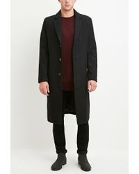 Forever 21 - Black Wool-blend Longline Coat for Men - Lyst
