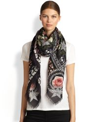 Givenchy | Pink Paradise Flowers Silk Wool Scarf | Lyst