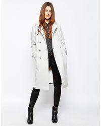 ASOS - Trench With Contrast Detail - Gray - Lyst