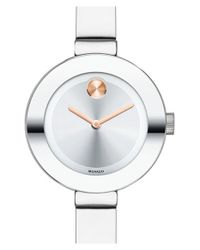 Movado - Metallic 'bold' Crystal Accent Bangle Watch - Lyst