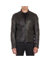 Ralph Lauren Black Label - Black Leather Café Racer Jacket for Men - Lyst
