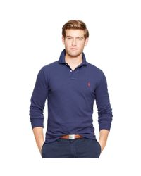 Polo Ralph Lauren - Blue Custom Fit Long-sleeve Polo for Men - Lyst