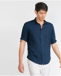 Zara | Blue Shirt With Neck Trim And Button Tab Sleeves for Men | Lyst