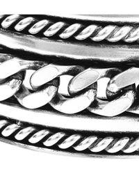 Saint Laurent - Metallic Chain-Embossed Silver Cuff for Men - Lyst