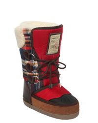 DSquared² | Blue Nylon & Plaid Wool Snow Boots | Lyst