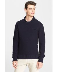 A.P.C. - Blue Shawl Collar Wool Sweater for Men - Lyst