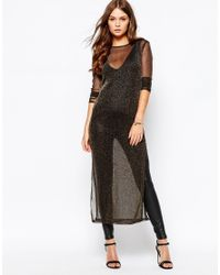First & I | Black Metallic Maxi Top | Lyst