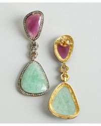 Amrapali - Blue Mint and Raspberry Sapphire Diamond Drop Earrings - Lyst