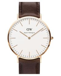 Daniel Wellington | Brown 'classic Bristol' Leather Strap Watch | Lyst
