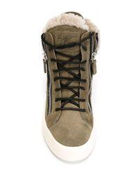 Giuseppe Zanotti - Green Faux Fur Trim Hi-Top Sneakers - Lyst