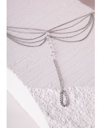 Missguided | Metallic Bead Detail Layered Foot Chain Silver | Lyst