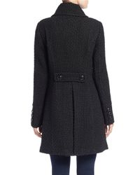 Gallery - Black Double-breasted Button-down Coat - Lyst