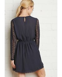 Forever 21 | Blue Floral Lace-trimmed Dress | Lyst