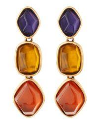 Oscar de la Renta - Golden Multicolor Tripledrop Earrings - Lyst