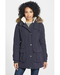 DKNY | Blue Faux-Fur Trim Anorak | Lyst
