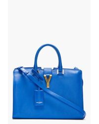 Saint Laurent | Blue Leather Ligne Y Small Cabas Tote | Lyst