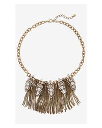 Express | Metallic Mixed Rhinestone And Box Chain Fringe Necklace | Lyst