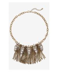 Express - Metallic Mixed Rhinestone And Box Chain Fringe Necklace - Lyst