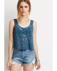 Forever 21 - Blue Floral Crochet Crop Top - Lyst