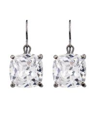 Bottega Veneta - White Zirconia And Oxidised-Silver Earrings - Lyst