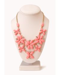 Forever 21 - Pink Fancy Floral & Rhinestone Necklace - Lyst