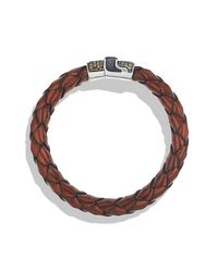 David Yurman | Brown Chevron Bracelet In Woven Leather for Men | Lyst