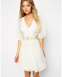 ASOS - White Skater Dress With Lace Insert And Kimono Sleeve - Lyst