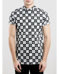 TOPMAN | Black Cream Crosses Short Sleeve for Men | Lyst