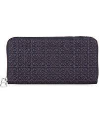 Loewe | Blue Engraved Logo Zip-around Wallet | Lyst