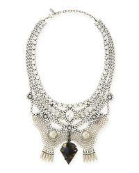 DANNIJO - Metallic Crystal Bib Necklace - Lyst