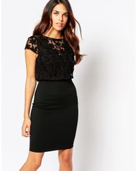Lipstick Boutique - Black Kylie Dress With Embroidered Overlay - Lyst