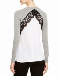 Aqua | Gray Cashmere Cashmere Leopard Lace Two Tone Sweater | Lyst