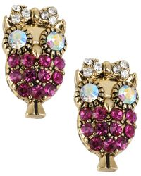 Betsey Johnson | Metallic Antique Gold-tone Owl Stud Earrings | Lyst