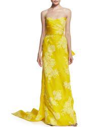 Monique Lhuillier - Yellow Strapless Rose-print Silk Gazar Gown - Lyst