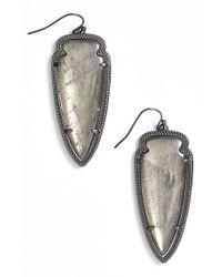 Kendra Scott - Metallic 'skylar Spear' Statement Earrings - Gunmetal/ Mirror Rock Crystal - Lyst